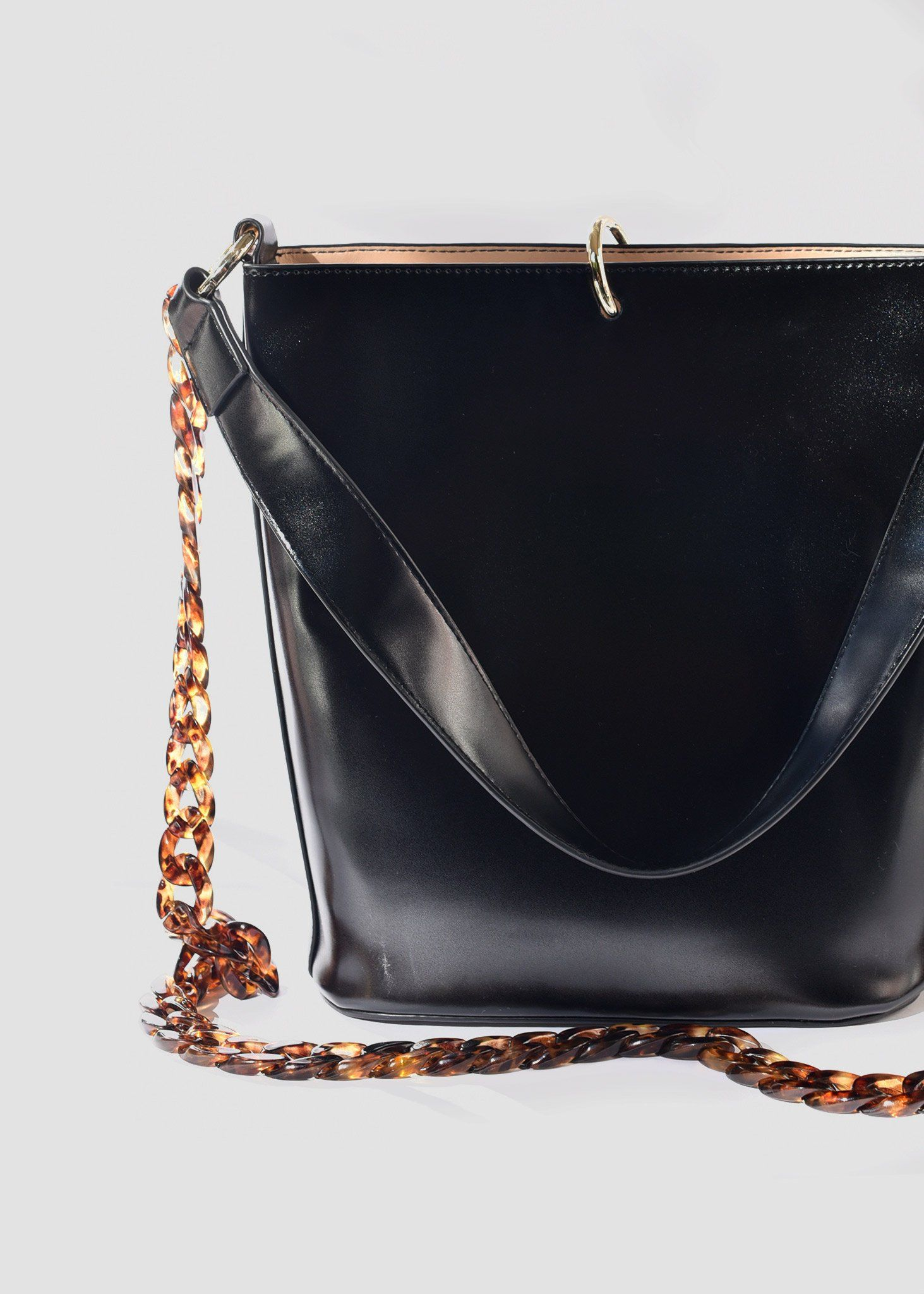 59b7bd978672 Bucket Tote Bag in black by Brie Leon at Dead Pretty. Acetate tortoiseshell  chain strap. Perfection!