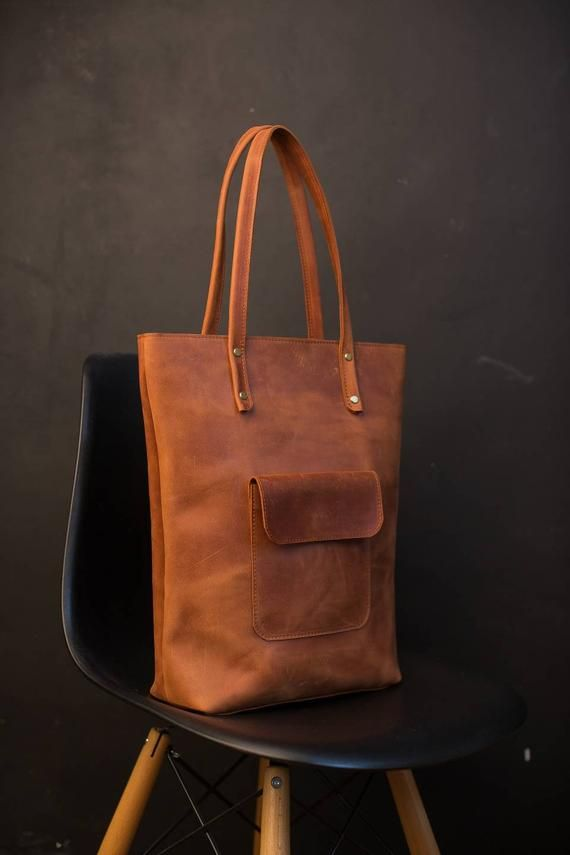 Photo of Leather tote bag, leather shopping bag, leather bag, women laptop bag, brown tote bag, leather shoulder bag, vintage leather bag, woman tote