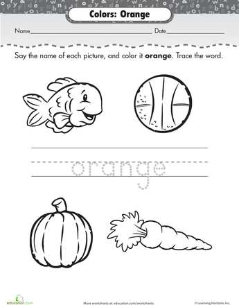 Things That Are Orange Worksheet Education Com Worksheets Color Education Com