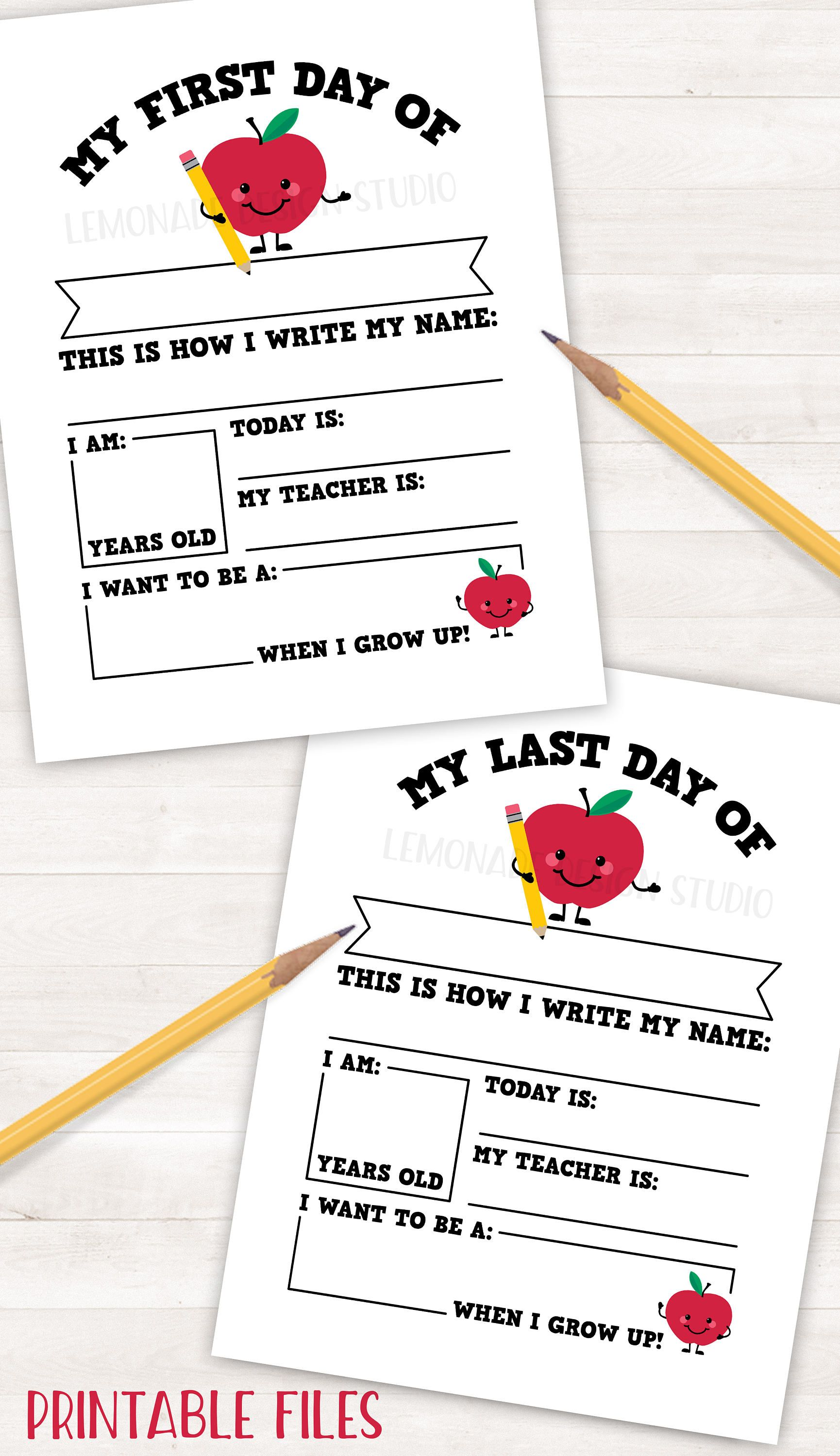 Printable First Day Of School Sign Printable Back To School Sign Last Day Of School Sign