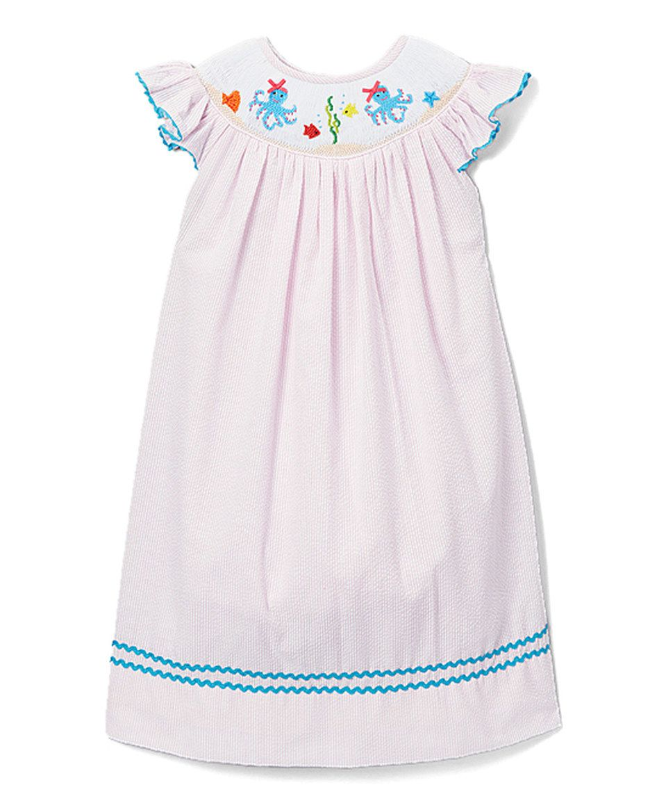 Take a look at this Smocked or Not Pink Octopus Smocked Angel-Sleeve Dress - Infant today!