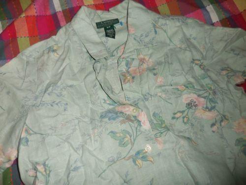 euc Ralph Lauren sage green shabby floral short sleeve linen shirt ladies P / P