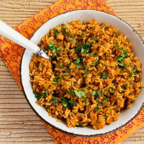 baked salsa rice--in order to avoid using oven made the following changes:  cooked onion, garlic in olive oil, added chilis, then rice and let rice brown a bit. Then added salsa and chicken stock and brought to a boil. Then covered and simmered for 20 minutes. Yummy.