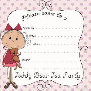 Teddy Bear Tea Party Invite  Party Ideas    Teddy Bear