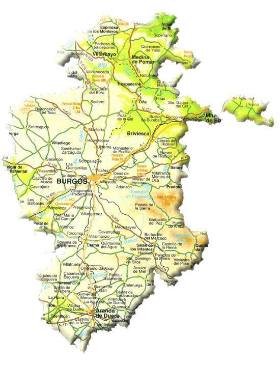 Mapa Turistico Burgos Provincia.Mapa De La Provincia De Burgos Spain Castilla Leon