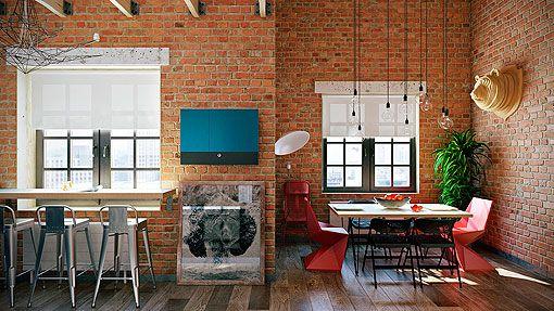 Loft con paredes de ladrillo visto industrial vintage for Pintura estilo industrial