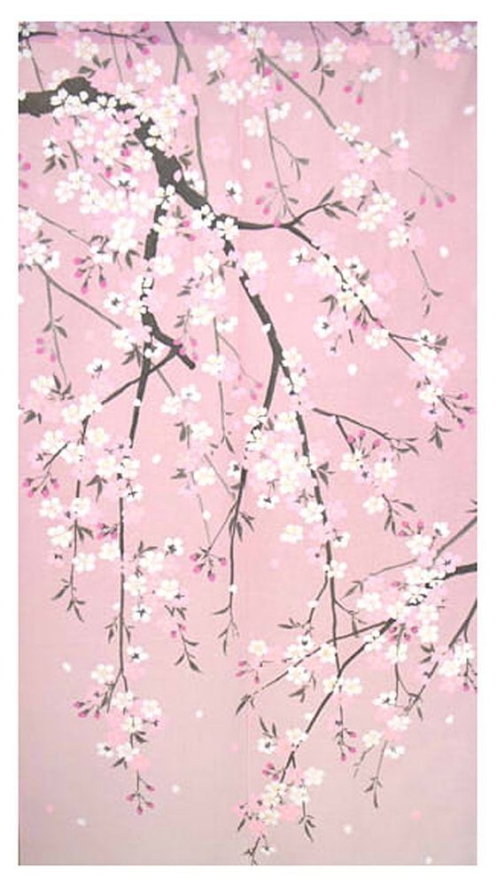 Cosmos Made In Japan Noren Curtain Tapestry Cherry Blossoms Sakura 850 1500 Cherry Blossom Art Cherry Blossom Painting Cherry Blossom Wallpaper