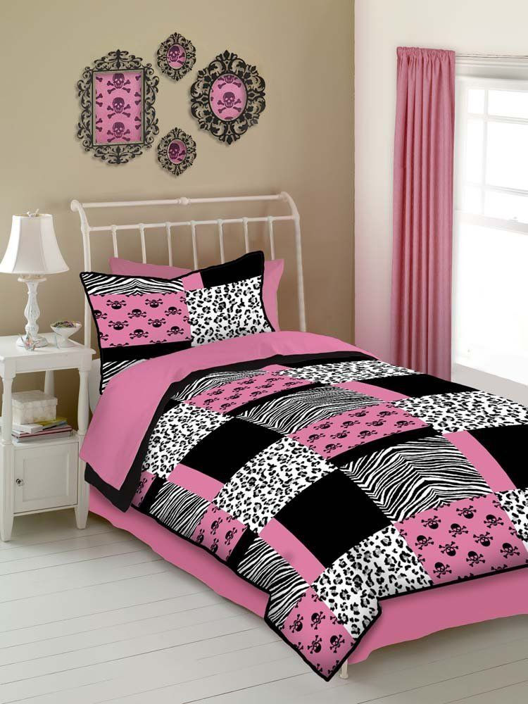 Girl Bedroom Designs Zebra amazon: veratex pink skulls twin size 3-piece comforter set