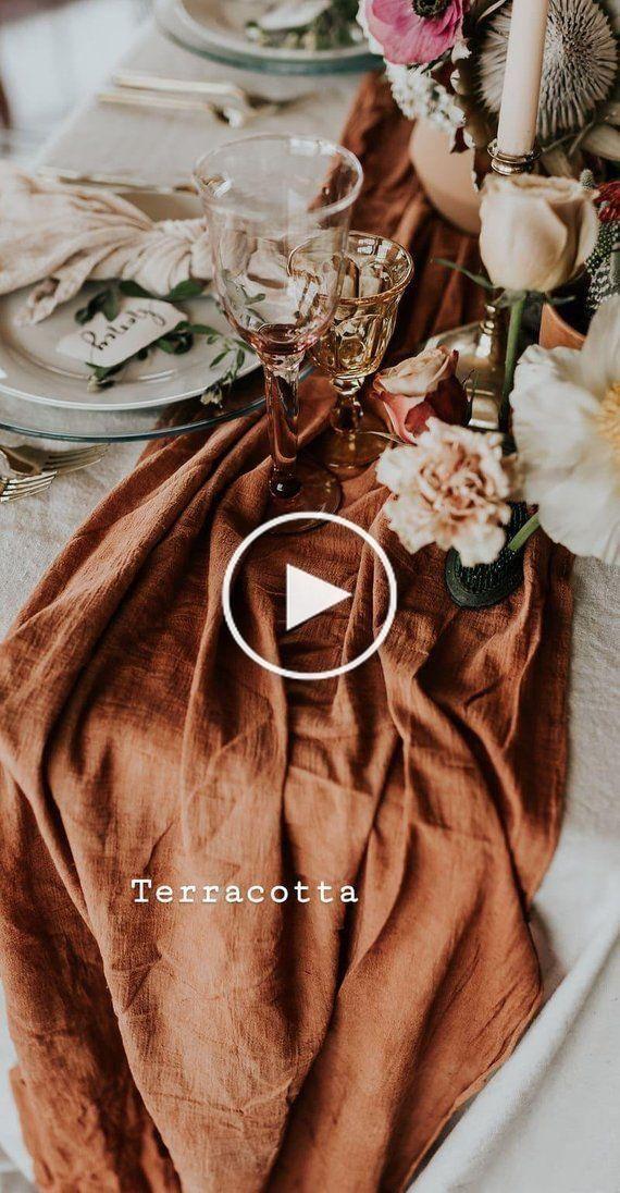 Terracotta Table Runner Cheesecloth Table Runner Copper Wedding Decor Rustic Wedding Decor In 2020 Christmas Decor Diy Christmas Room Decor Diy Copper Wedding Decor