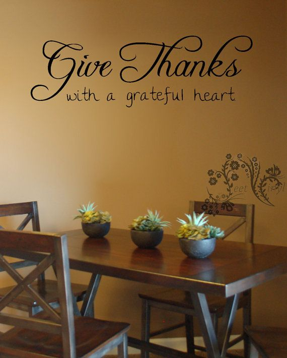 Give Thanks With A Grateful Heart Wall Decals Vinyl Decor Religious Decal Art Sticker
