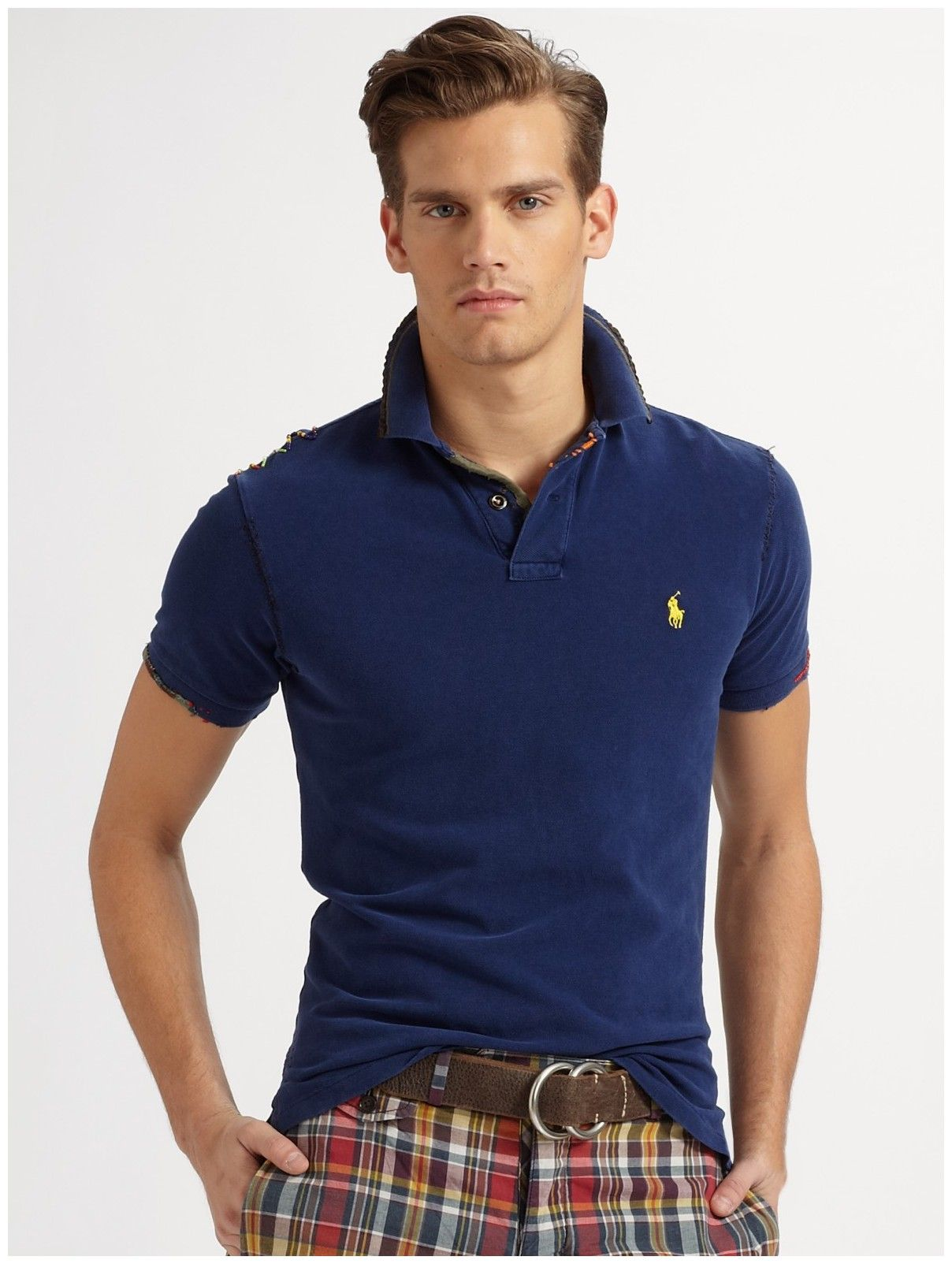 Ralph Lauren Light Blue Men Mesh Polo Shirts