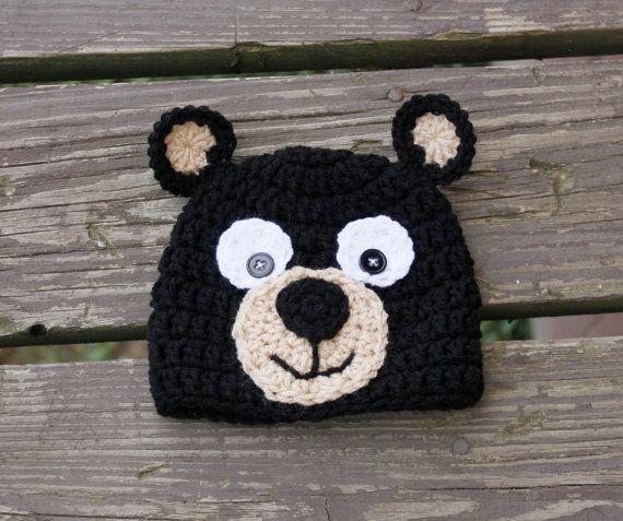 Gorro De Oso De Ganchillo · Sombreros De Animales Tejidos Con Ganchillo ·  Newborn Infant Youth Sized Crochet Bear Hat by TheYarnFool on Etsy 1e00bf59012