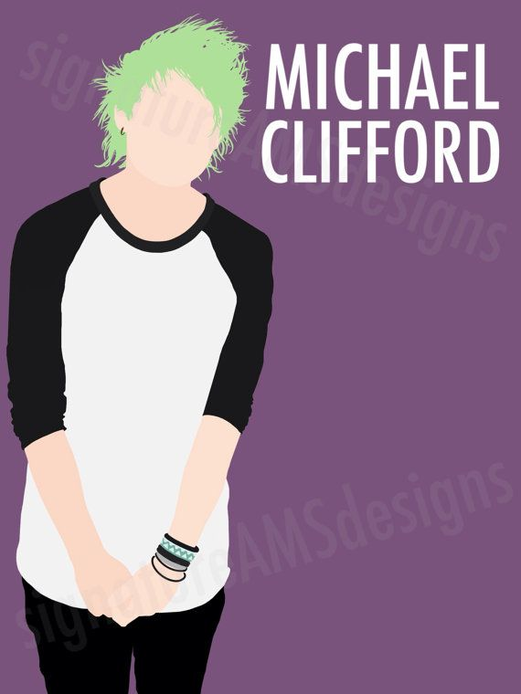 Minimalist Digital Artwork Of 5 Seconds Of Summer Band Member Michael Clifford 11 7x16 5 Inches A3 5 Seconds Of Summer Michael Clifford Second Of Summer