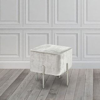 Modern Square Gray Velvet Upholstered Foot Stool Ottoman | Noelu0027s Home  Office | Pinterest | Foot Stools, Ottomans And Stools