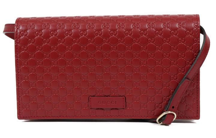 8e285b91efb3 Gucci Women Dark Red Micro Guccissima Embossed Mini Wallet Bag With Strap # Gucci #Crossbody