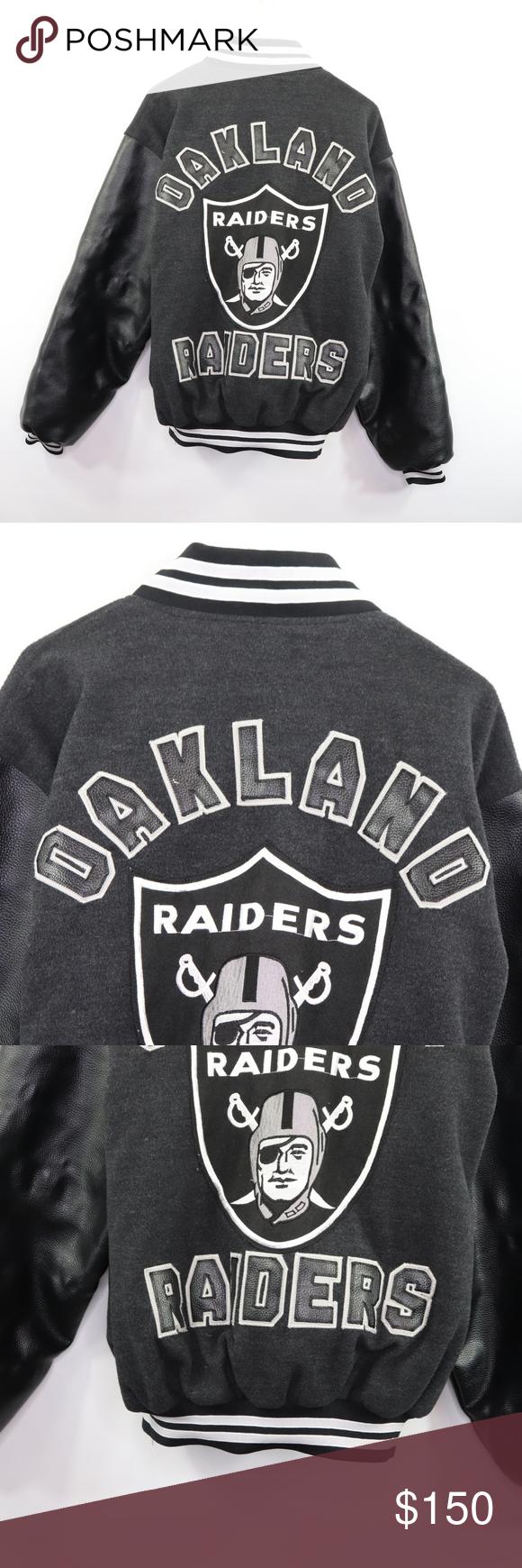 Oakland Raiders Mens Large Bomber Varsity Jacket Vintage Oakland Raiders Nfl Leather Varsity Jacket Jac Leather Varsity Jackets Varsity Jacket Vintage Jacket [ 1740 x 580 Pixel ]