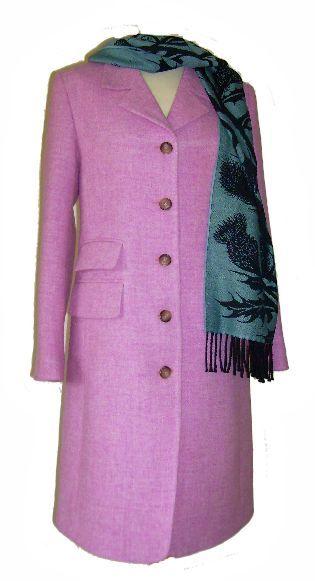 pembrook coat in pink harris tweed