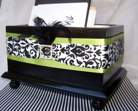 Wedding Card BOX Black And White Damask By Itsmyday 5500