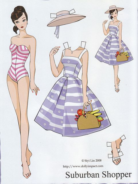 Barbie Suburban Shopper Paper Doll By Siyi Lin Com Imagens Roupas De Papel Ilustracoes De Moda Bonecas De Papel Vintage