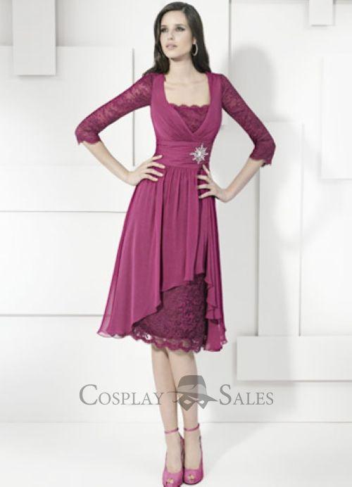 Grape Square Neck Half Sleeves Knee Length Chiffon Prom Dresses ...
