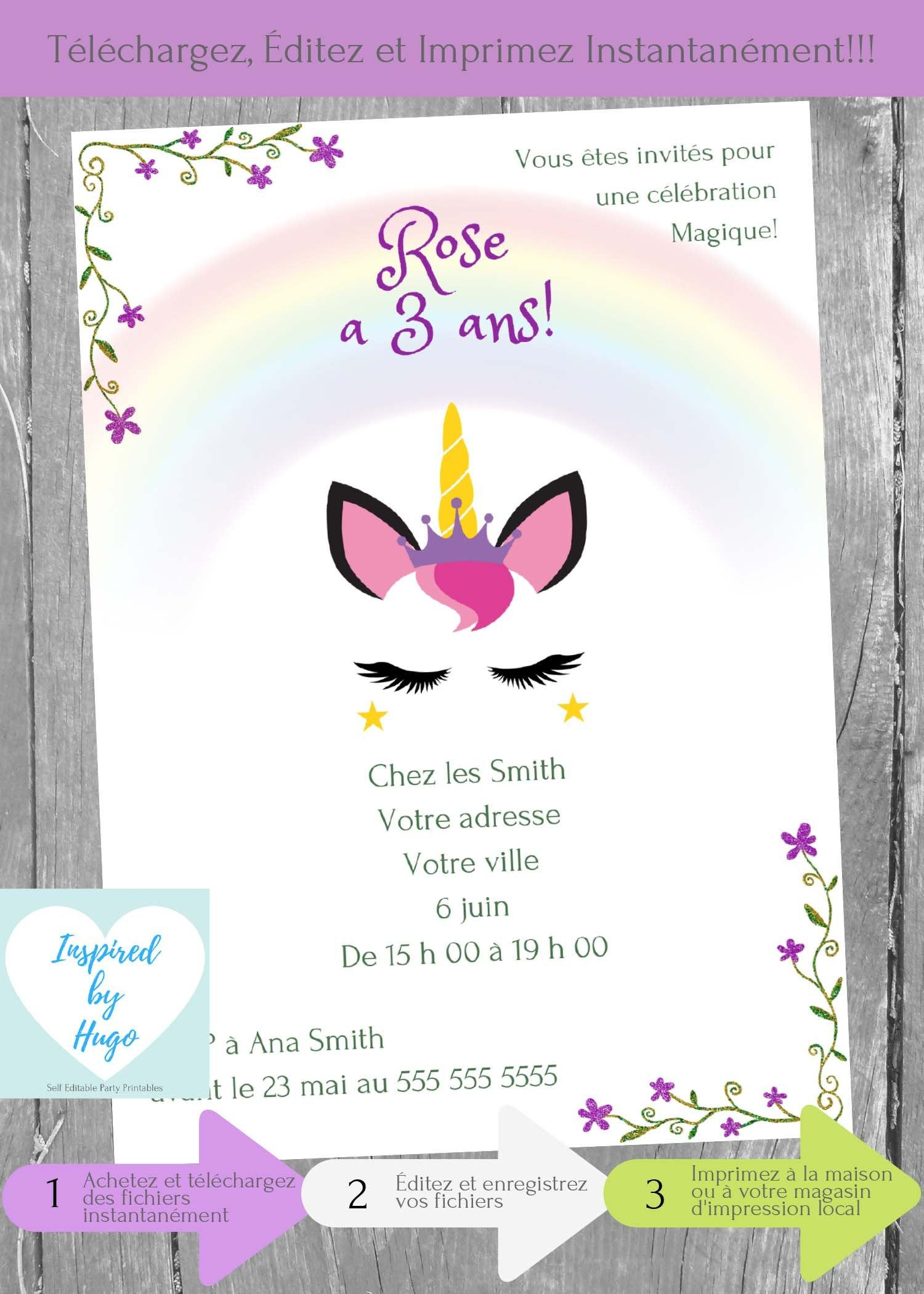 Invitation Licorne fête d'anniversaire fille, Anniversaire