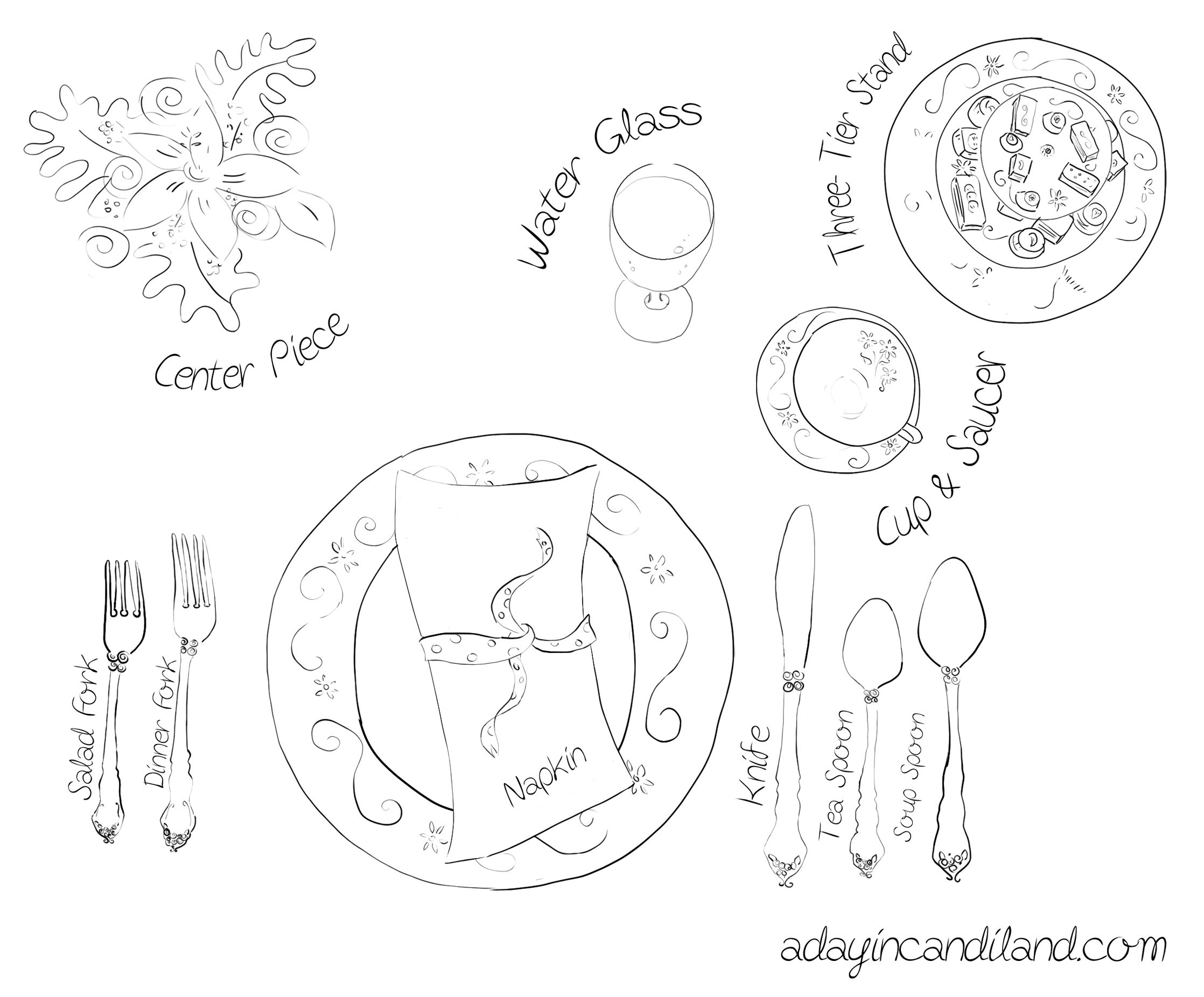 High Tea Table Setting Diagram