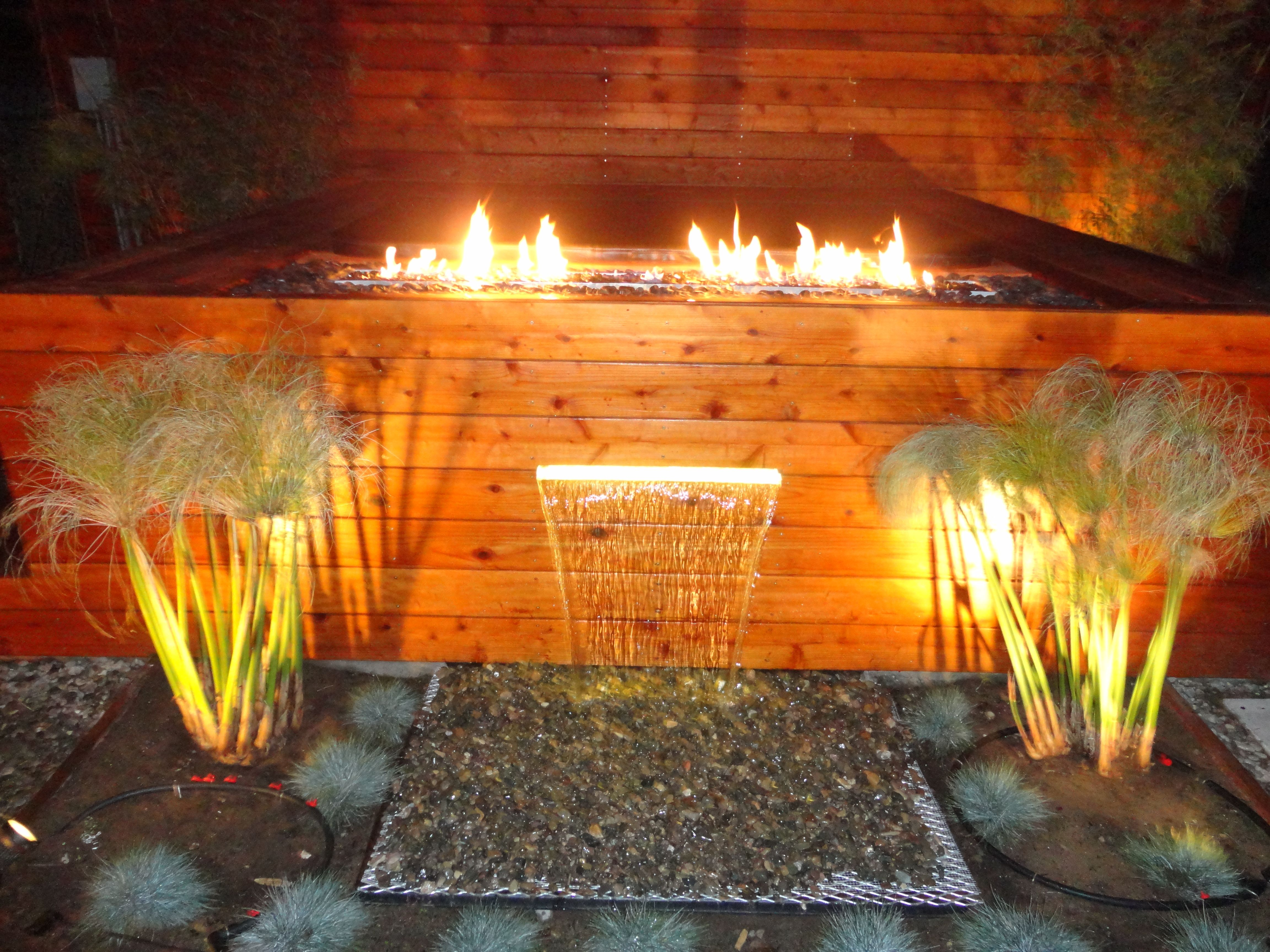 Custom fire pit with fire crystals and water feature for Fire and water features