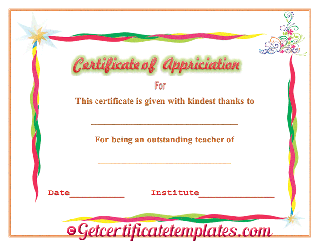 Certificate of appreciation for outstanding teaching certificate teacher certificate templates certificate of appreciation for outstanding teaching yadclub Gallery