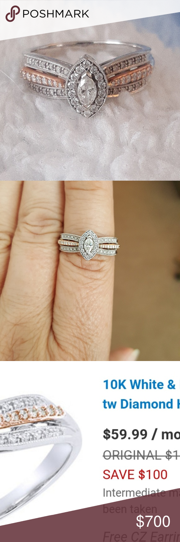 Ring 10 Carat White And Rose Gold Ring 3 8 Carat Diamonds Paid Original Price Not Mark Down Price Only Wore For About 1 Mon With Images Rings Engagement Rings Jewelry