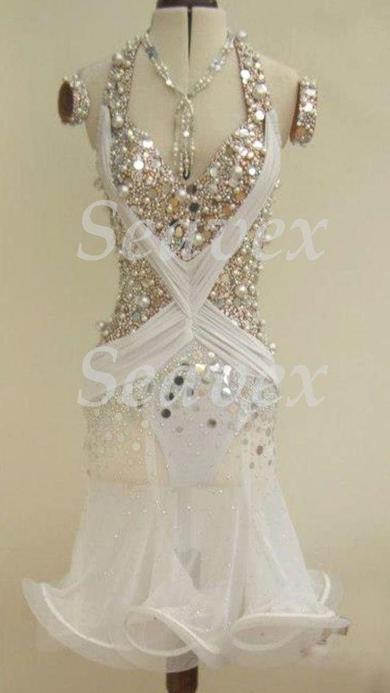 SEXY Ballroom Latin Cha Cha Samba Ramba Dance Dress US 6 UK 8 White ...