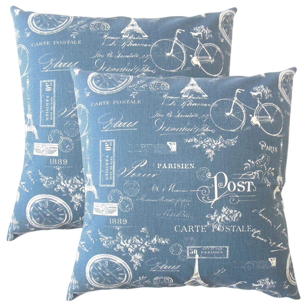 Set Of 2 Dalayne Typography Throw Pillows In Navy Blue Size 18 X  ~ What Size Throw Pillow For Sofa