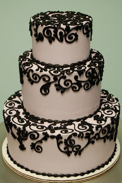 Gorgeous Black Scroll Piping Cake By Rise And Shine Bakery I Love This But Would Prefer It On A Stark White Cake Instead Of This Taupe Color