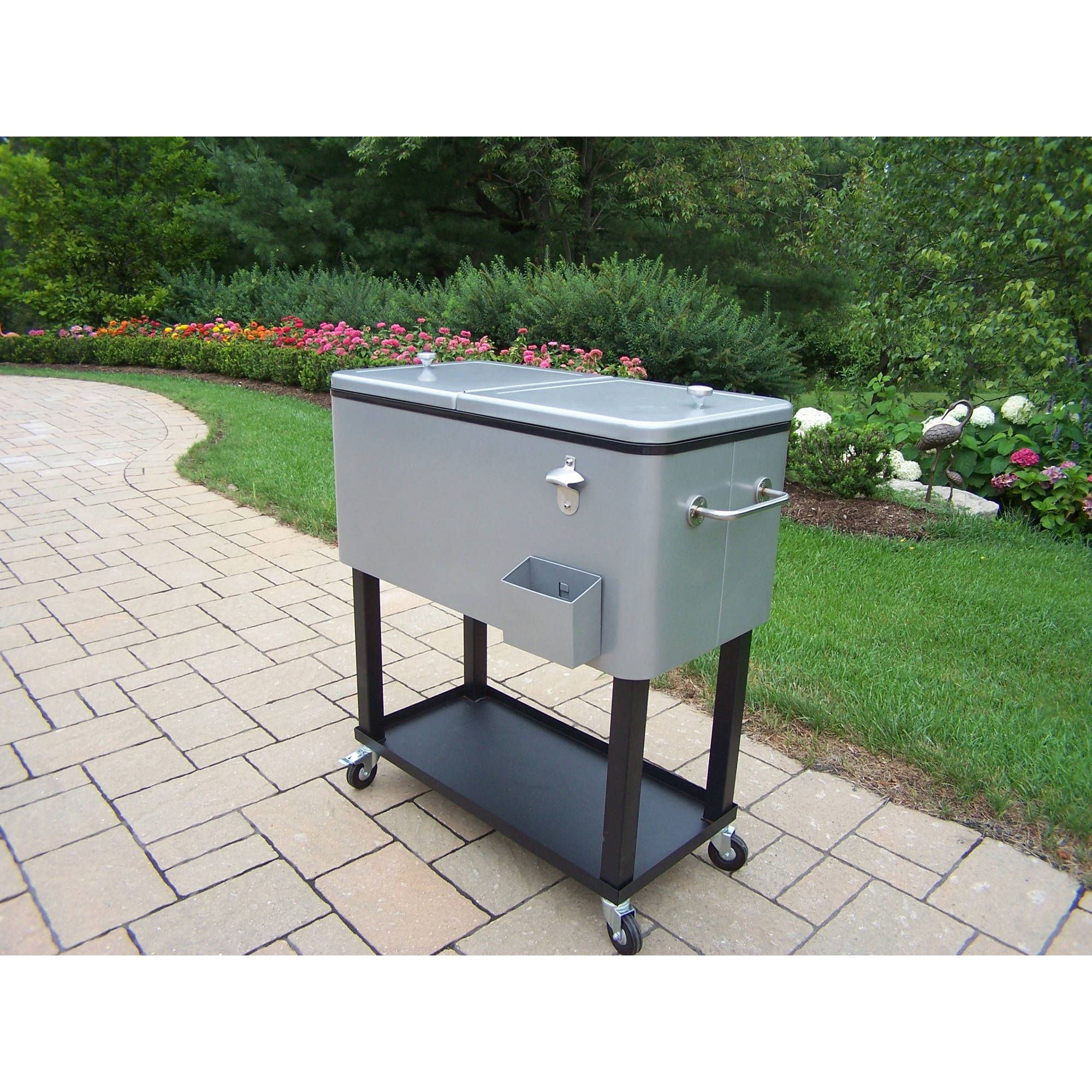 The Oakland 80 Qt. Steel Patio Cooler Cart Will Make An Elegant Addition To