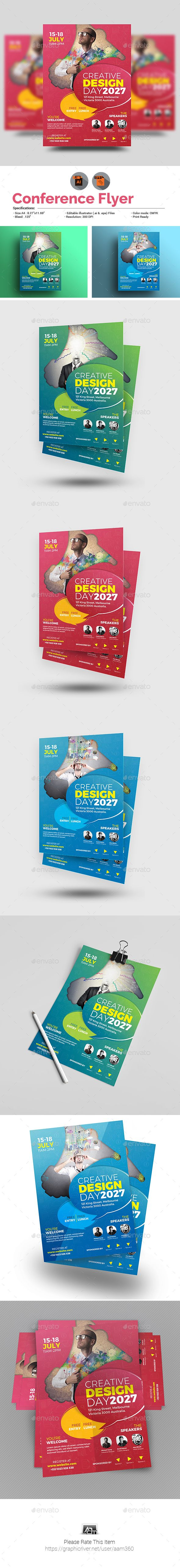 Conference Flyer  Flyer Template Illustrator Cs And Template