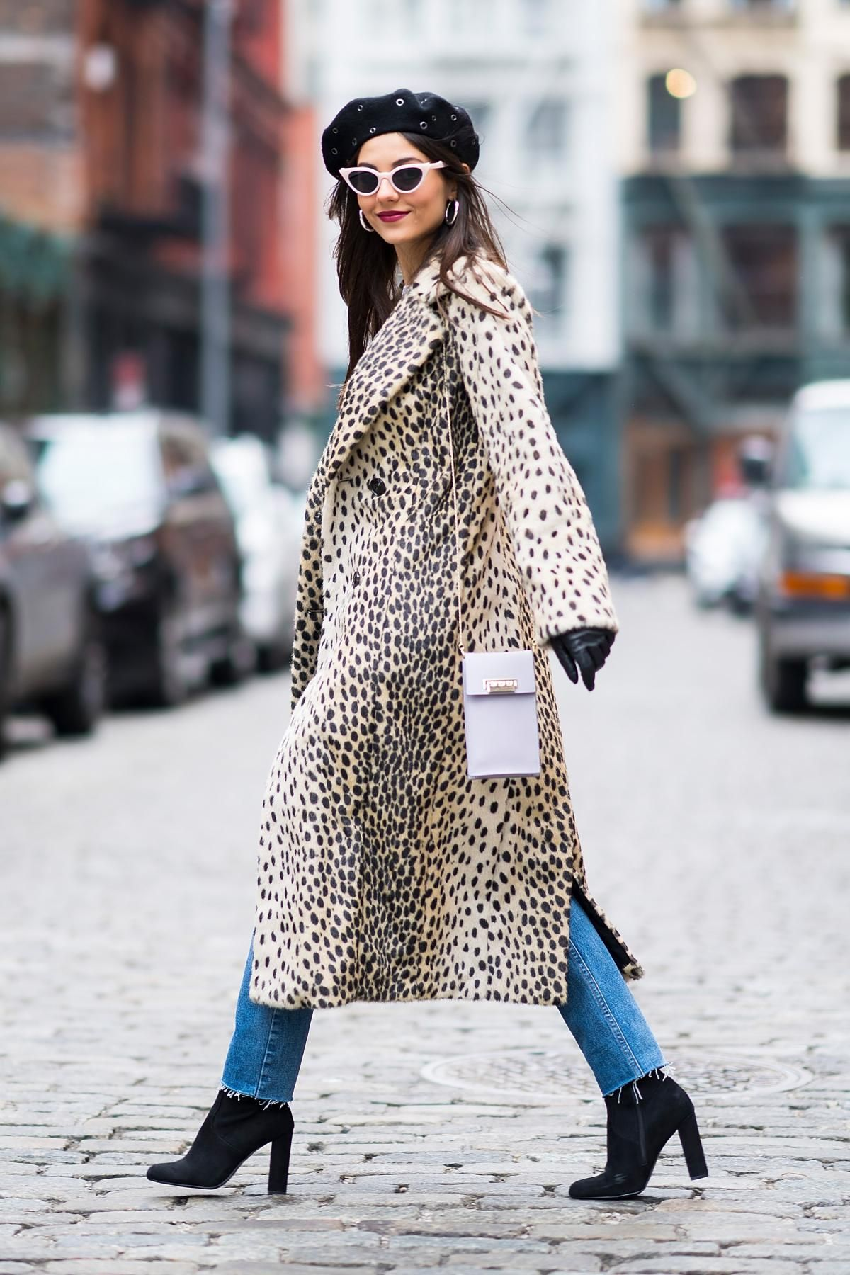 a16c0ddb897f Victoria Justice wearing Illesteva Isabella Sunglasses in Cotton Candy,  House of Harlow 1960 Perry Faux Fur Leopard Coat and Re/done Skinny  Distressed Jeans