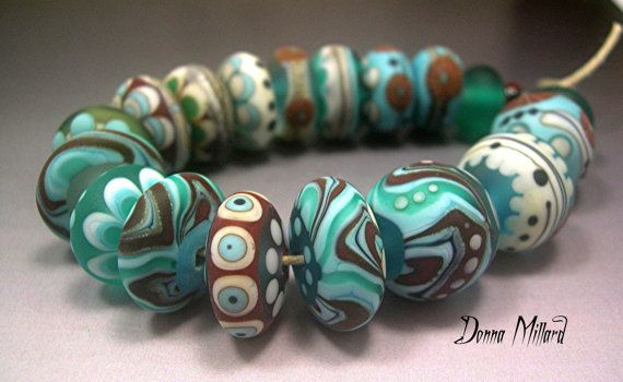 Donna Millard glass organic brown turquoise aqua discs rounds $125.00 #lampwork #beads