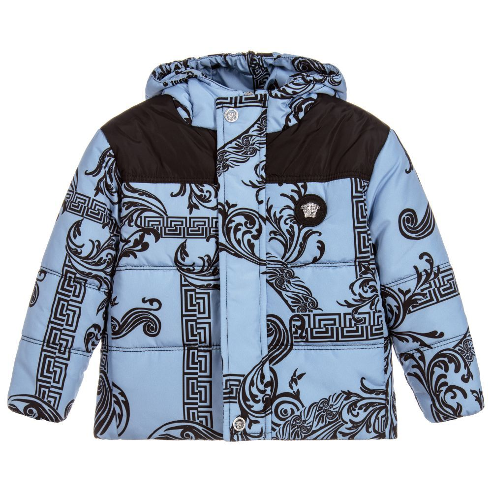 59734f565 Boys GREEK FRET Puffer Jacket for Boy by Young Versace. Discover the latest designer  Coats & Jackets for kids online