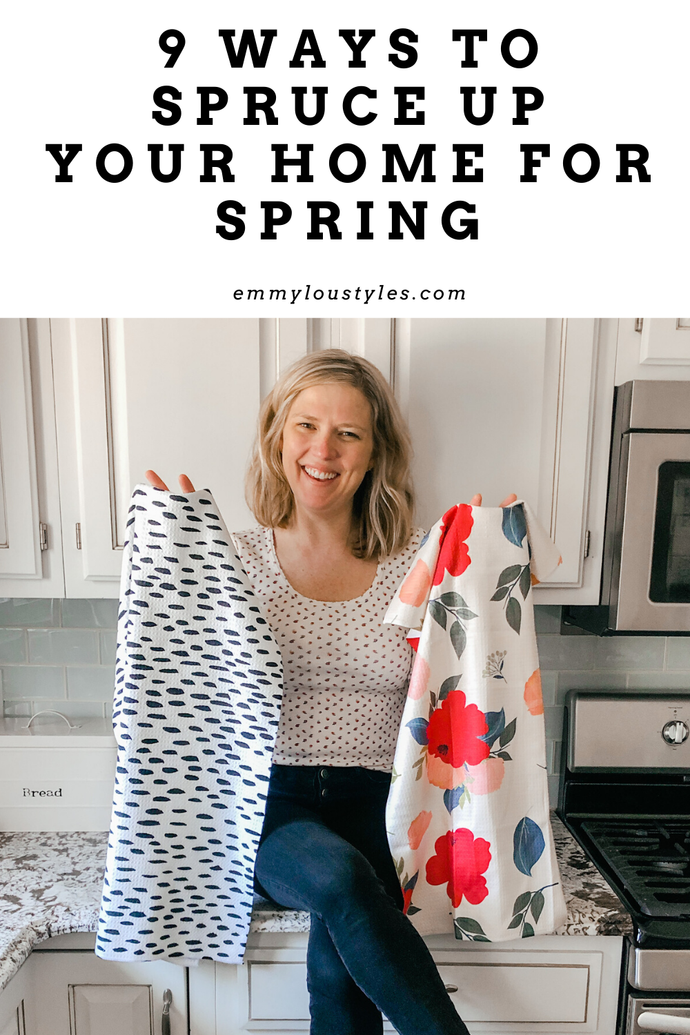 If you're spending a lot of time at home this spring, why not update some of your home decor?  This post covers spring home decor updates for everything from kitchen towels to wreaths for the door.  Check out these 9 ways to update your space for spring now!  #homedecor #homedecorblog #springdecor
