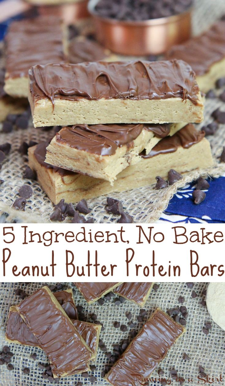 Healthy & Homemade No Bake Peanut Butter Protein Bars recipe - Only 5 Ingredients! These easy, low carb, clean eating and simple bars are made with oatmeal, peanut butter, honey, and @PremierProtein Vanilla Protein Powder and topped with chocolate.  No refined sugar.  Great for breakfast or a fit snack. Vegetarian and gluten free. / Running in a Skirt AD