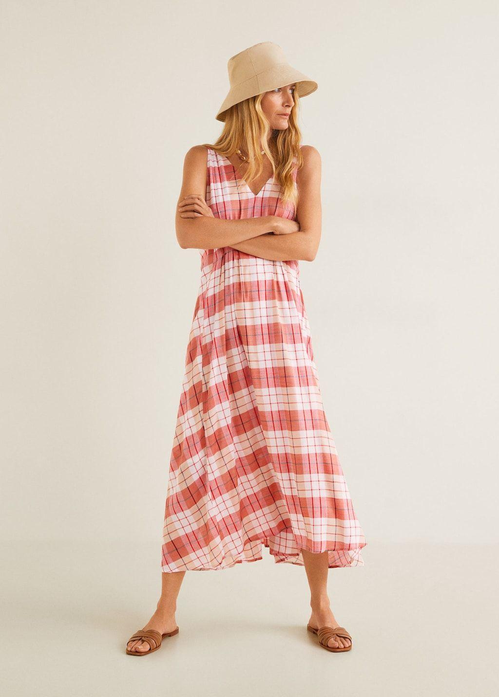 Womens Checked Strappy Mini Dresses Ladies Summer Beach Plaid Sun Dress Skrit