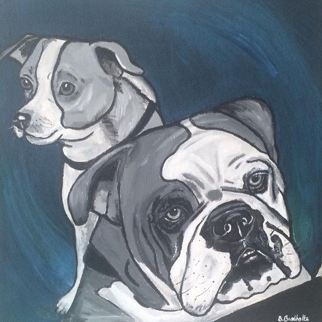 One of mine! #painting #art #puppies