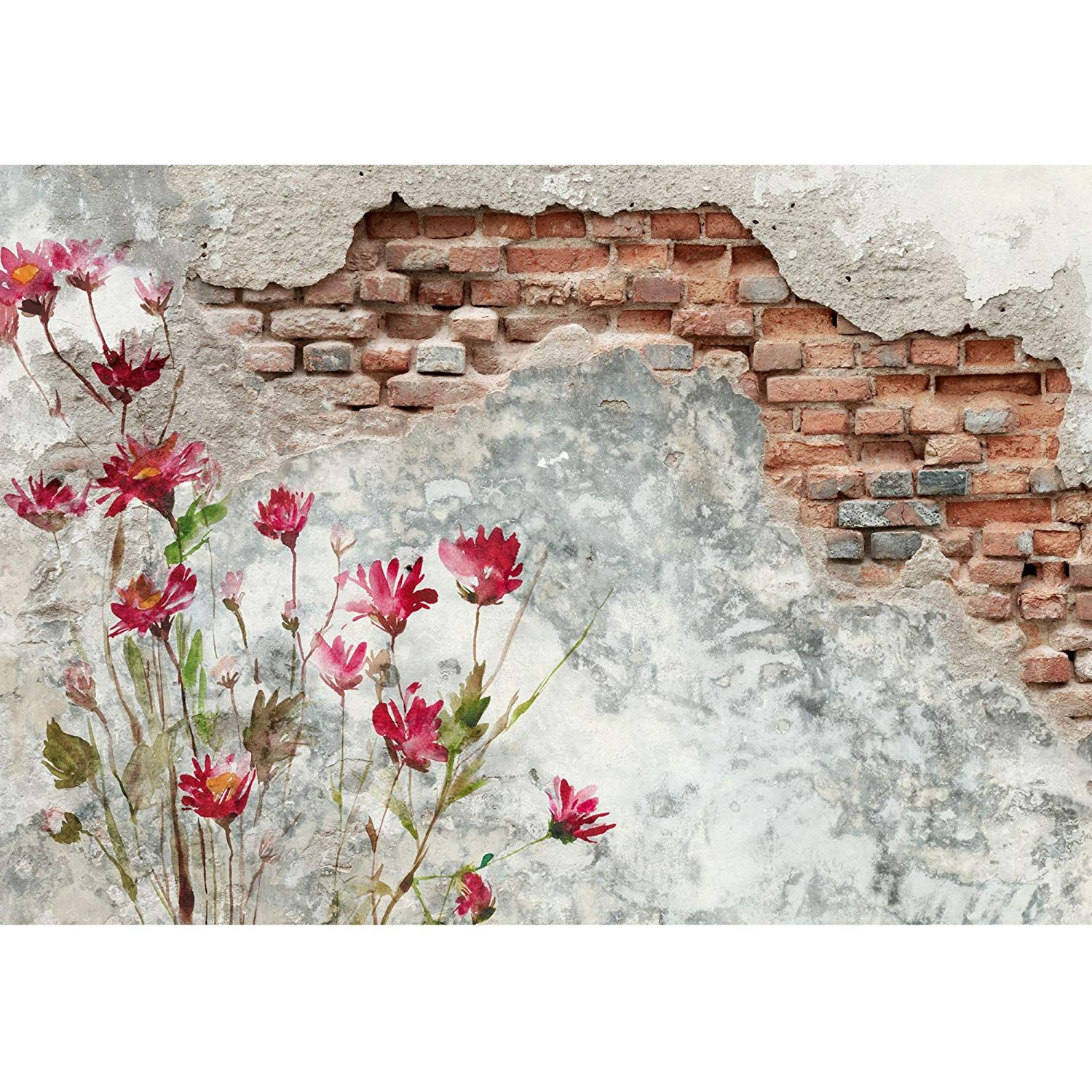 Brick Wall With Flower Painting On It Outdoor Wall Paint Garden Wall Art Painted Brick Walls