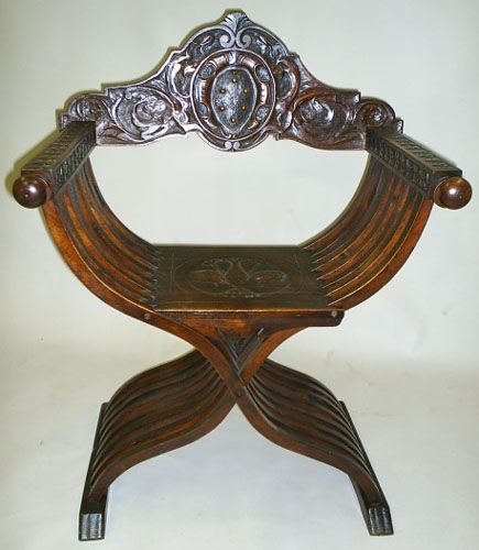 Savonarola Chair With Medici Coat Of Arms Circa 1870