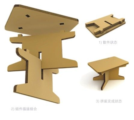 Cardboard foldable table metacrilato papel y cart n for Flat pack muebles