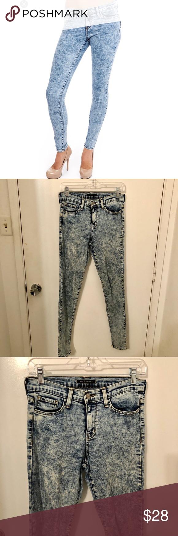 Flying Monkey acid wash stretch skinny jeans 28