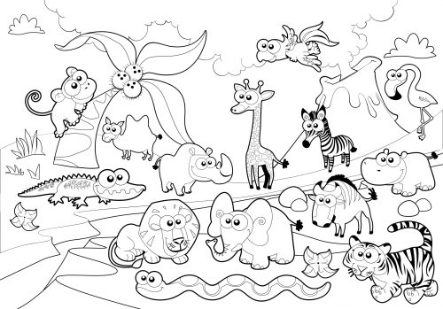 Detailed Coloring Page – Zoo Animals | Páginas para colorear y Colorear