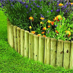 Wickes Half Log Timber Border Edging Roll 150 X 1800 Mm The