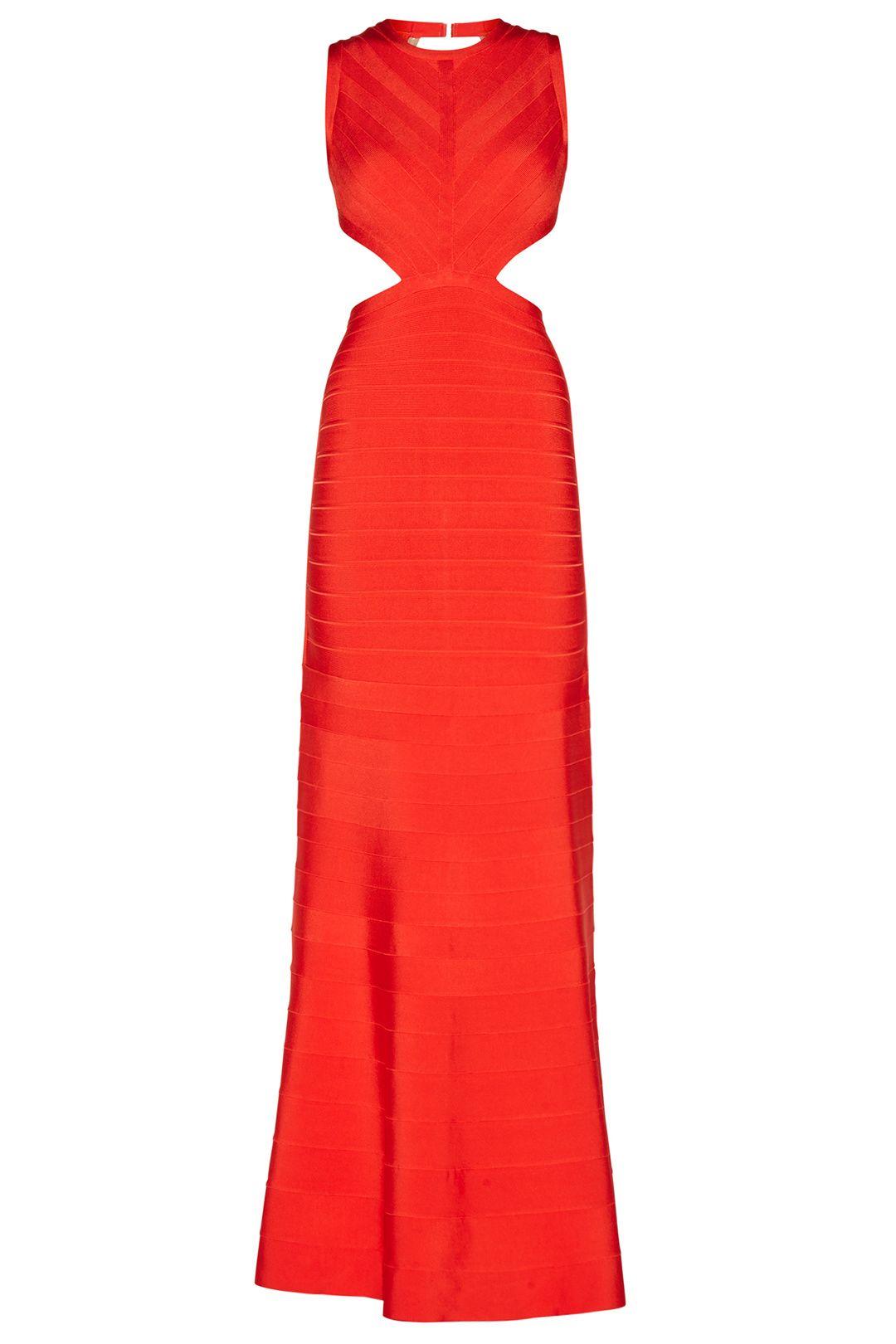Hervé Léger Red Cassandra Signature Essentials Gown | Rent the ...