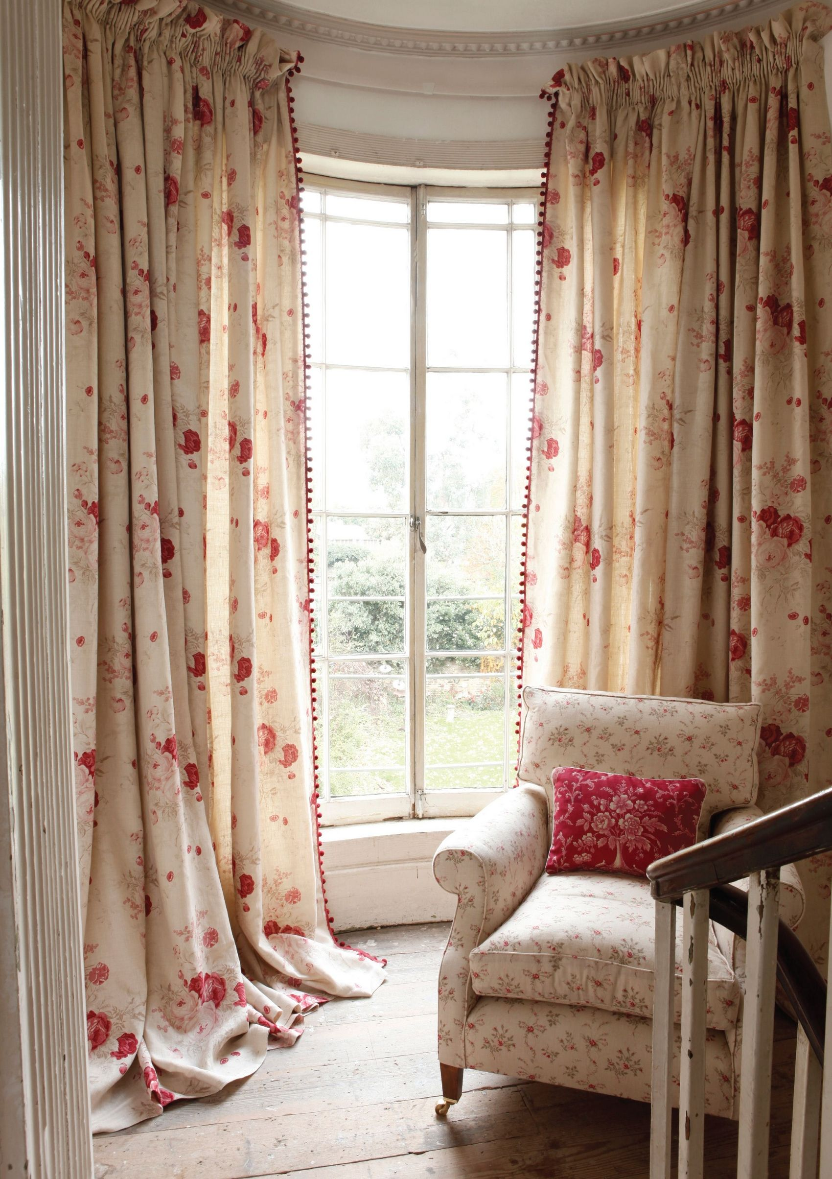 Kinds Of Vintage Floral Curtains - Bay window floral drapes waverly norfolk rose