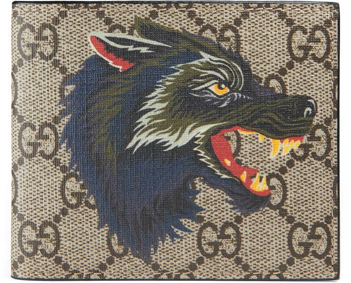 2eab1ee1575b Gucci Wolf print GG Supreme wallet | Products in 2019 | Gucci mens ...
